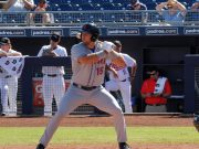 Tim Tebow at bat with the New York Mets